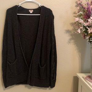 Mossimo L Long Sleeve Gray Cotton Cardigan